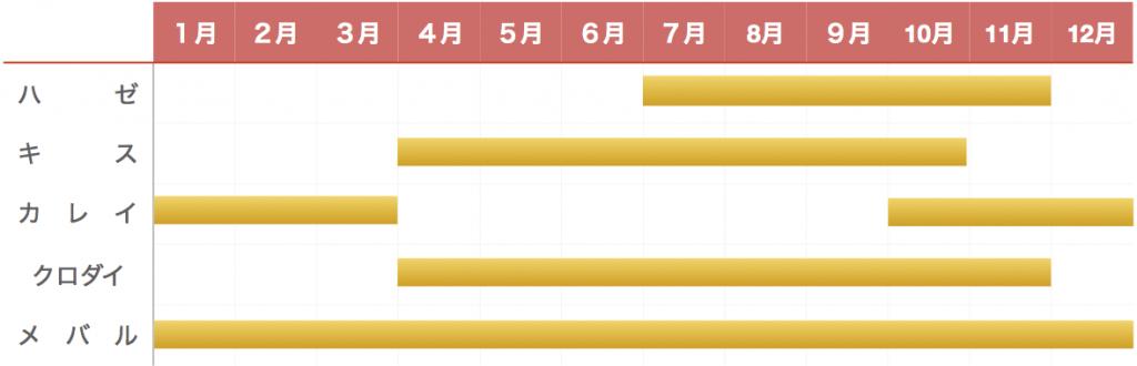 竹岡港釣り物カレンダー